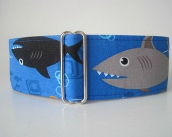 Blue Martingale Collar, 2 Inch Martingale Collar, Shark Martingale Collar, Shark Dog Collar, Blue Dog Collar, 1.5 Inch Dog Collar, Whippet