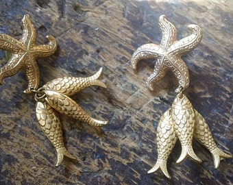 Vintage STARFISH & Fish Earrings - Nautical Theme