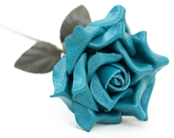 Leather rose teal third Anniversary wedding gift Long Stem leather flower Valentine's Day 3rd Leather Anniversary Mother's Day
