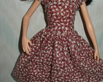 """Handmade 11.5"""" fashion doll clothes -  red and beige print dress"""