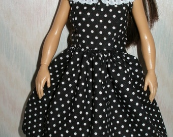 Handmade clothes for doll such as Lammily- black and white polka dot dress