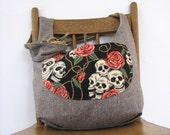SKULL BAG - Slouchy Hobo Bag - Crossbody Bag - Goth Bag - Crossbody Purse - Bohemian Bag - Slouch Bag - Reversible Bag - Skull and Roses
