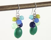 Ocean Cluster - Colorful Jade Royal Blue Mint Green Aqua Chartreuse Cluster Earrings - Stone Sea Glass Dangle Earrings
