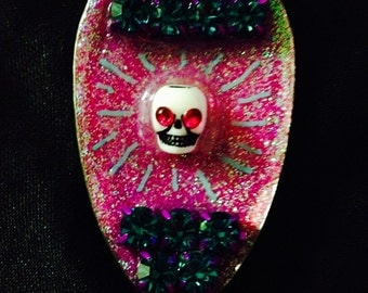 Disco skull - spoon necklace - pink
