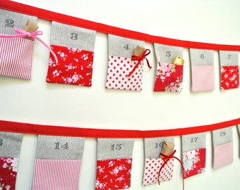 The original Christmas Bunting advent calendar ~ Tilda Stars ~ 24 linen flags. Ready to Ship!