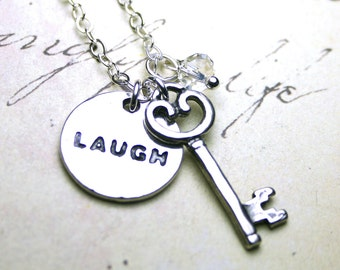 Laugh Out Loud Necklace - Laughter is the Key to Life Necklace - Swarovski Crystal and Sterling Silver
