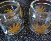 Medical Marijuana Pot Hand Painted Glass Canning Storage Jar Sealid Lid