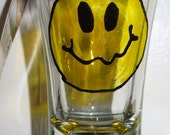 Shot Glass, Hand Painted, Vintage Smiley Face Quivering IDK Look