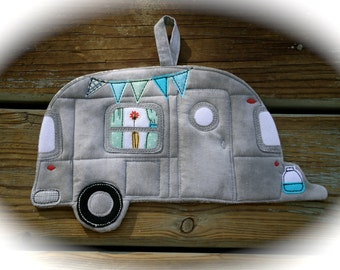 Camper Potholder, Camping potholder,  Airstream camper, made to order