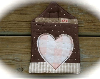 Love, Tiny House Potholder, linen minimalist hot pad