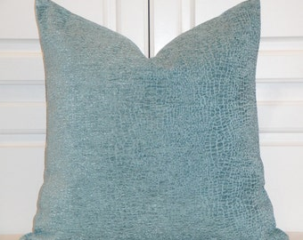 DOUBLE SIDED - AQUA Decorative Pillow Cover - Raised Chenille Animal Motif  - Accent Pillow - Blue Turquoise Pillow - Cushion