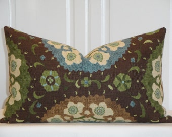 Decorative Pillow Cover - 12 x 20 - Accent Pillow - Throw Pillow - Blue - Tan - Green - Brown - Teal