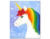 "Wall art for kids Room, Rainbow Unicorn,  8""x10"" or 16""x20"" inch art print for girls room or nursery"