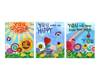 You Are My Sunshine, ART PRINTS, 8x10 Giclee Set of 3,  Flower Garden Themed kids room art