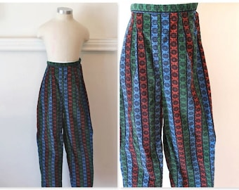 50% OFF...last call // vintage 1950s girl's pants - PEDDLE PUSHERS jewel tone corduroy jeans / 12-14yr / xxxs