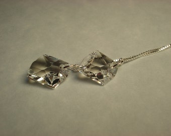 Clear Swarovski Crystals on Sterling Ear Threads- Threader Earrings/Necklace-FREE SHIPPING To U.S.-