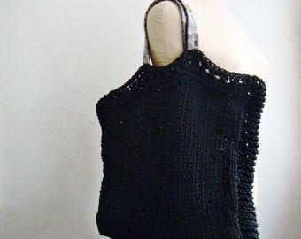 Black Knit Tote Bag, with Real Leather Handles, Knit Purse