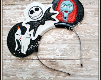Jack and Sally Mouse Ears Headband by Twincess Bowtique - CUSTOM