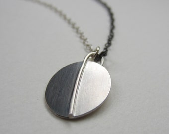 Dark Side Pendant oxidized silver oval modern asymmetric necklace handfabricated