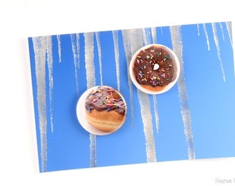 """Donut Magents - 1.5"""" Doughnut Magnets - Original Images - Mmm, Donuts - Strong Magnets Set of 2 - Chocolate Doughnuts - Kitchen Accessory"""