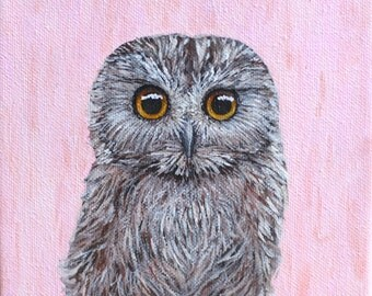 Owl Portrait no 2 || 6x6 Acrylic Painting