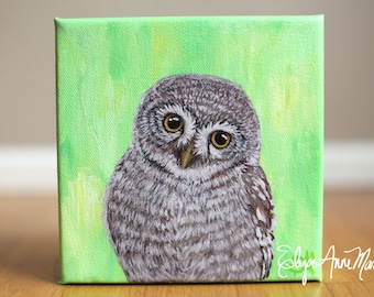 Owl Portrait no 5 || 6x6 Acrylic Painting