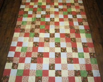 Brown and Peach Quilt top- 56x75 inches