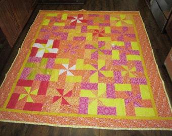 Citrus pinwheels Quilt- 74x85 inches