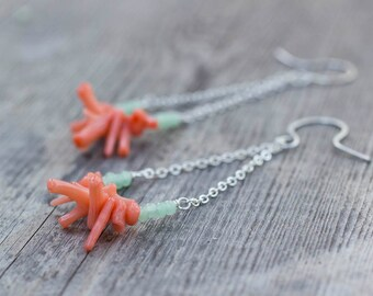 Coral Earrings, Mint Green, Dangly Earrings, Pastel, Gift for Her