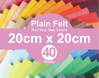 40 Plain Felt Sheets - 20cm x 20cm per sheet - Pick your own colors (A20x20)