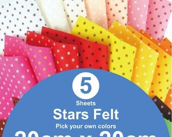 5 Printed Stars Felt Sheets - 20cm x 20cm per sheet - Pick your own colors (S20x20)