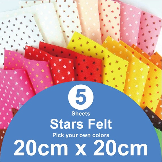 5 Printed Stars Felt Sheets - 20cm x 20cm per sheet - Pick your own colors (S20x20)