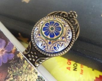 Antiqued Brass Bookmark, Metal, Vintage Glass Bookmark, Book Lovers