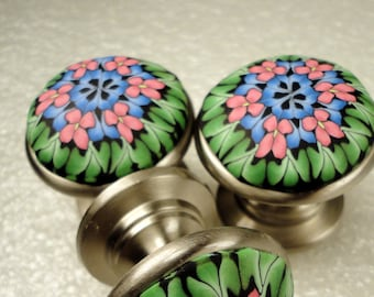 Cabinet Knobs Pulls   8 Polymer Clay Metal  Unique Handmade Decorative knobs Dresser drawer knobs Green Blue Pink