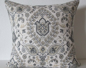 Telesto Blend Dove ivory gray medallion decorative pillow cover