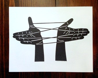 Cat's Cradle paper cut illustration