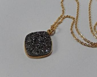 Druzy Necklace, Platinum Necklace, Square Druzy, Sparkly Necklace