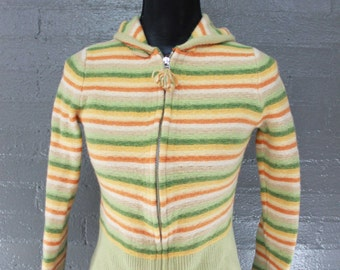 Vintage 90s Zip Up knit Sweater Lambs Wool