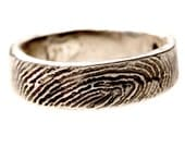 Sterling Silver Fingerprint Wedding Ring with Engraved Handwriting Jewelry.