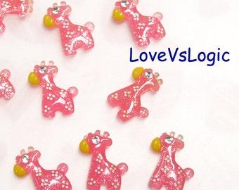 10 Glitter Giraffe Lucite Cabochon. Dark Pink Tone.