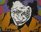 Joker's Wild Mixed Media Mini Art Mounted Ready to Frame ACEO Size Batman Inspired Art