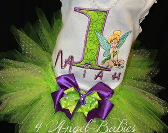 Fairy Princess Girls 3 Piece Birthday Glitter TuTu Outfit. Green or Blue Choose your size and hairpiece with Embroidered Top