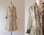 S A L E . . 1960s Forgotten Garden floral chiffon day dress / 60s botanic beauty