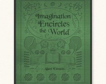 Imagination Encircles the World • Art Print • Old Book Cover • Albert Einstein
