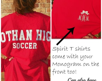 Monogrammed Personalized Long Sleeved Spirit T Shirt