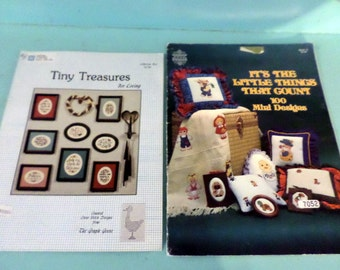 Cross Stitch Pattern Books Tiny Treasures and It's the Little Things that Count Over 100 Mini Designs set of 2 pattern books