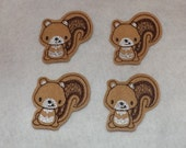 Feltie Machine Embroidered Hand made (4) Felt Squirrel CUT Embellishments / appliques