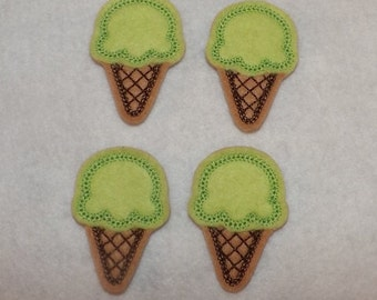 Feltie Machine Embroidered Hand made (4) Felt Icecream Cone CUT Embellishments / appliques