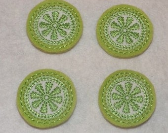 Feltie Machine Embroidered Hand made (4) Felt Lime Citrus Round CUT Embellishments / appliques
