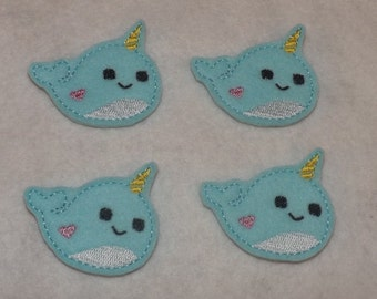 Feltie Machine Embroidered Hand made (4) Felt Narwhal CUT Embellishments / appliques